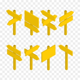 Set of isometric road signs isolated