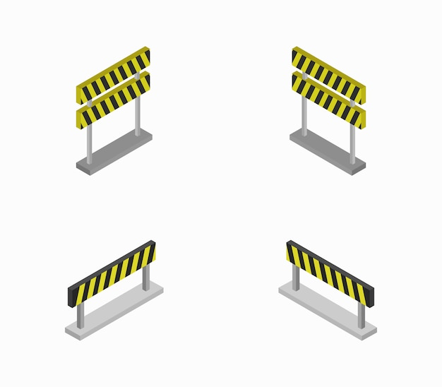 Set of isometric roadblocks