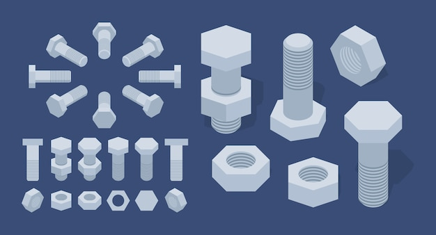 Set of the isometric screw-nuts and bolts