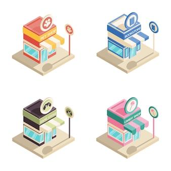 Set of isometric shops