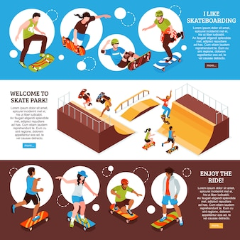 Set of isometric skateboard banner template with editable text information about skateboarding sports activity and images vector illustration