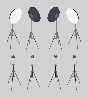 Set of the isometric softboxes, photocameras and tripods.