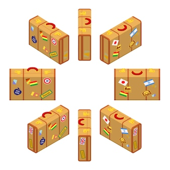 Set of the isometric standing yellow travelers suitcases.