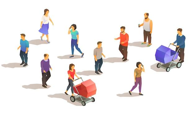 Set of isometric suburbian people