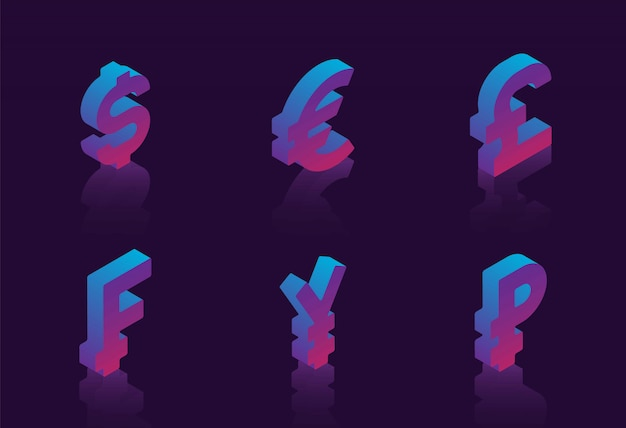 Set of isometric symbols of various currencies on dark background