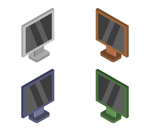 Set of isometric televisions