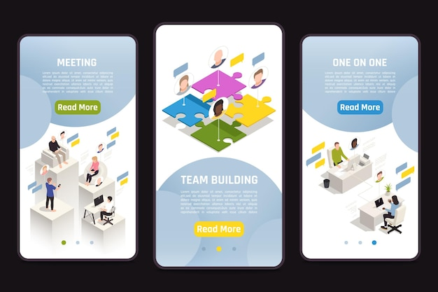 Set of isometric templates with virtual team building illustration