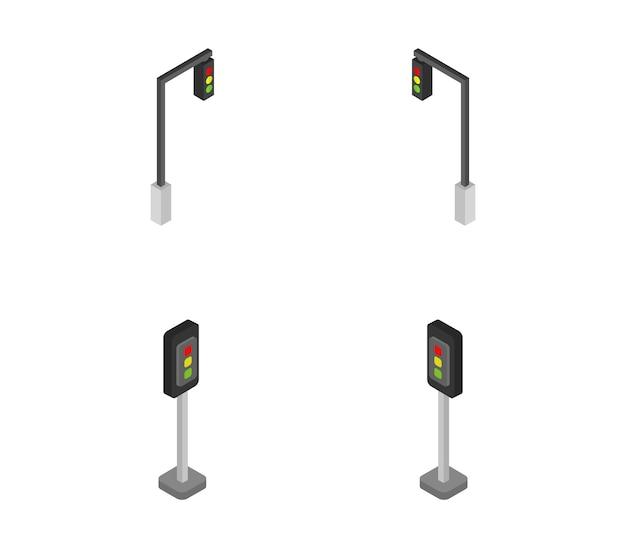 Set of isometric traffic lights