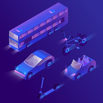 Set of isometric urban passenger transportation at night with turned on headlights.