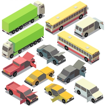 Set of isometric urban transportation. cars with open doors, hood isolated on white background