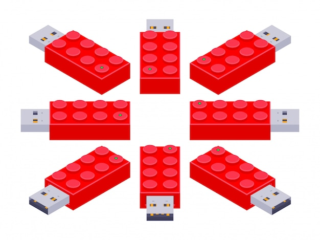 Set of the isometric usb flash-drives in a shape of the constructor bricks
