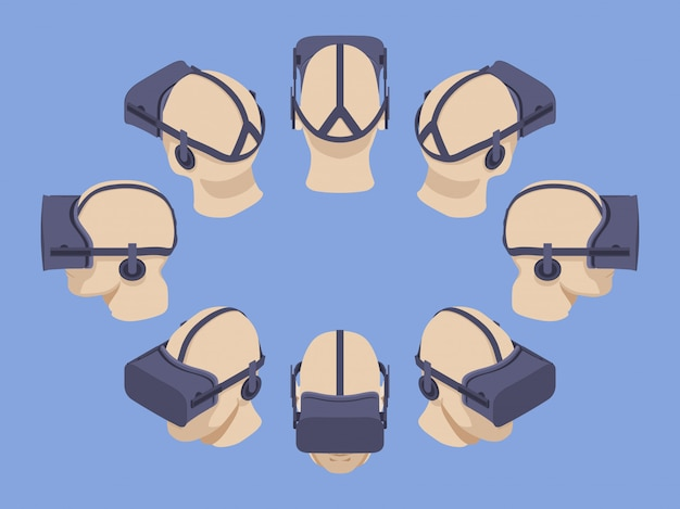Set of the isometric virtual reality headsets