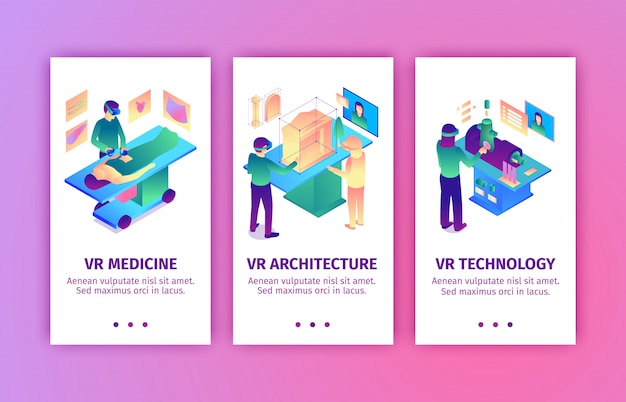 Set of isometric virtual reality vertical banners with images of people bringing augmented reality to industries vector illustration