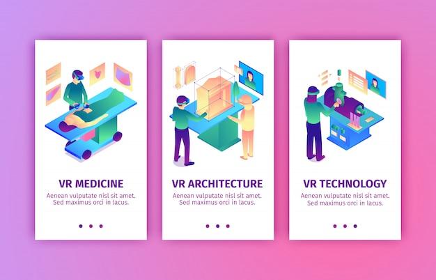 L'insieme delle insegne verticali isometriche di realtà virtuale con le immagini della gente che porta la realtà aumentata alle industrie vector l'illustrazione