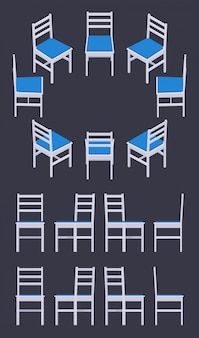 Set of the isometric white chairs
