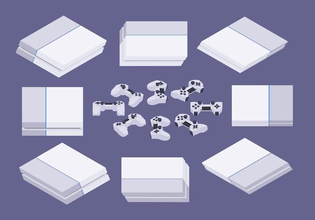 Set of the isometric white nextgen gaming consoles