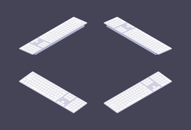 Set of the isometric white pc keyboards