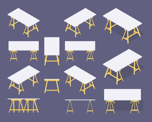 Set of the isometric work tables
