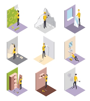 Set of isometric workers. home repair isometric form with craftsmans who during various building works. professional people with equipment engaged in their professional activities.