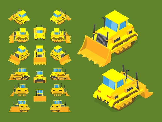 Set of the isometric yellow bulldozers