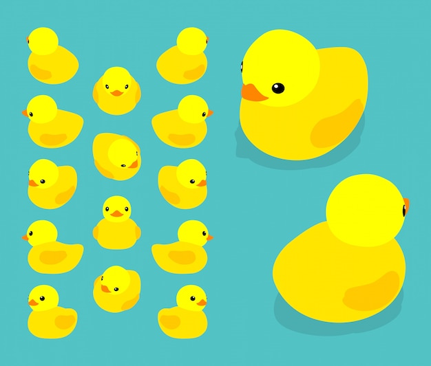 Set of the isometric yellow rubber ducks