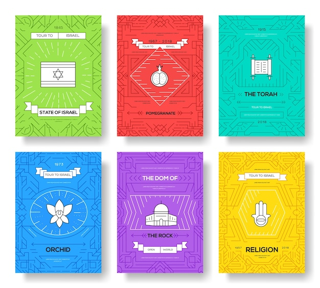 Set of israel country ornament travel trip. art traditional, headline, header, banners, element