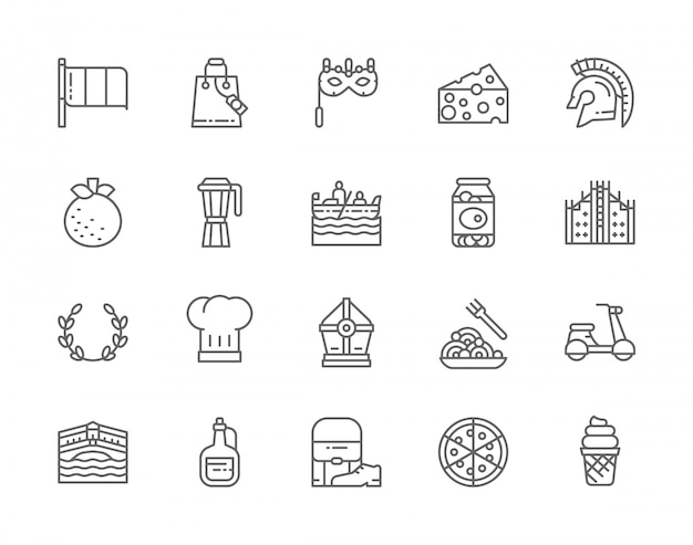Set of italian culture line icons. mandarin, gondola, traditional venetian mask, canned olives, olive branch, pasta, pizza and more.