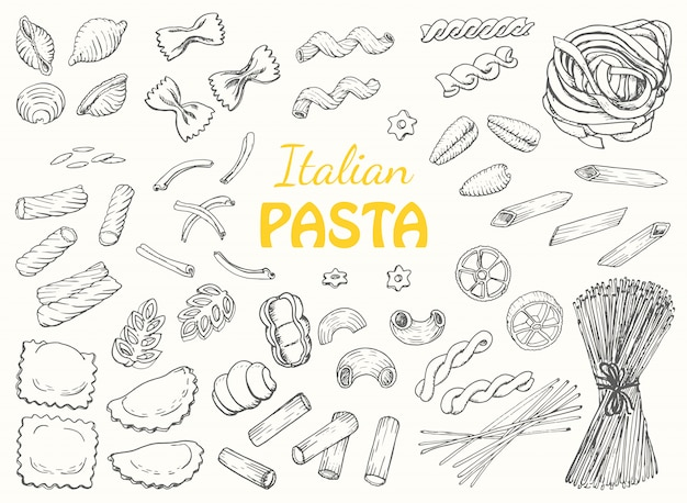 흰색 배경에 이탈리아 파스타를 설정