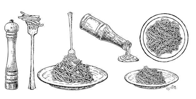 포크와 접시에 이탈리아 파스타를 설정 전통적인 이탈리아 파스타 스파게티 소스 향신료와 조미료