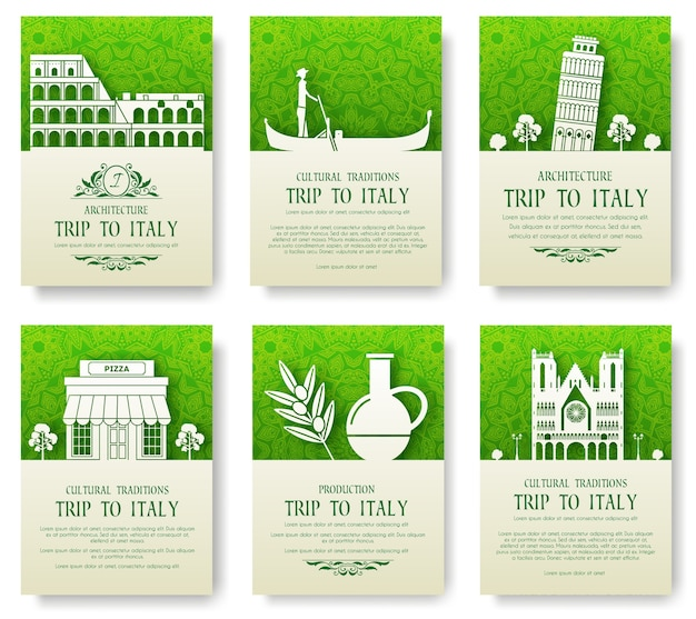 Set of italy country ornament illustration concept