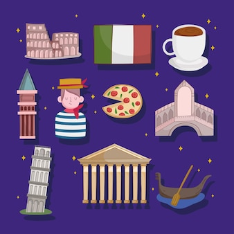 Set of italy culture