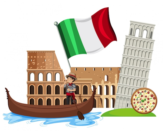 A set of italy tourist attraction