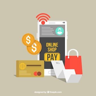 Set of items about online payment