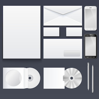 The set of items for the branding of the corporate style