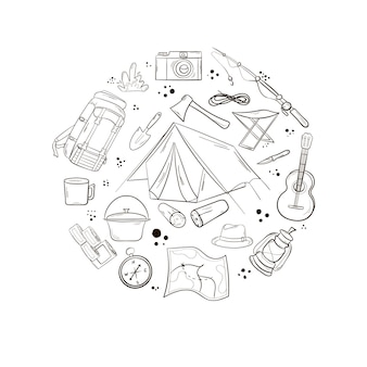 A set of items for camping and travel