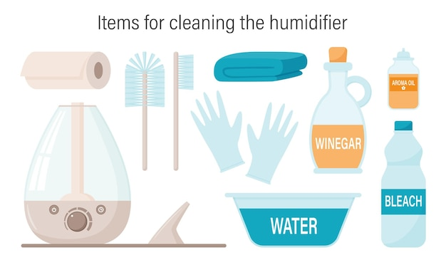 A set of items for cleaning and caring for the steam ultrasonic humidifier, mist diffuser. Premium Vector