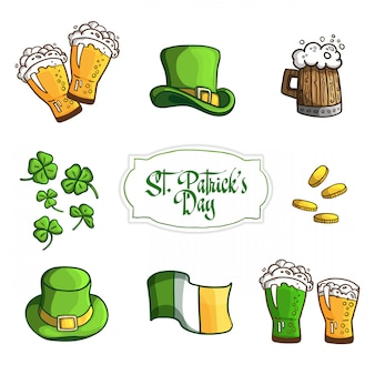 Set items for holiday st. patrick day. in cartoon style. .