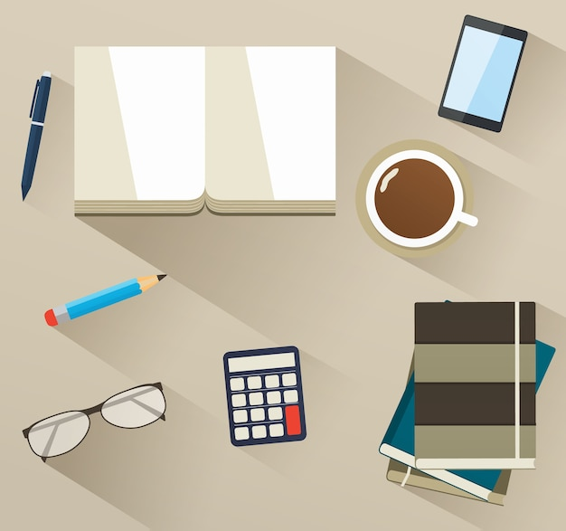 Set of items for learning on table, top view. education concept.