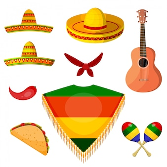 Set of items in the national style of a mexican musician.