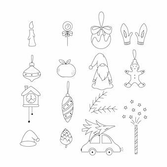 Набор предметов новый год. иллюстрация стиля каракули. елочный шар, пряничный человечек и гном.