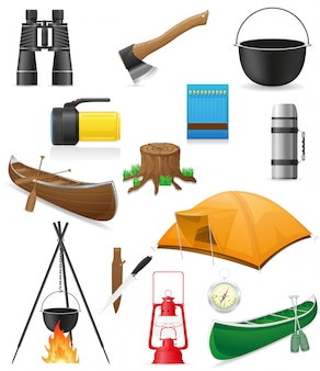 Set of items for outdoor recreation vector illustration
