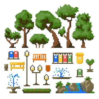 Set of items for the park isolated on white background. vector illustration in pixel art style.