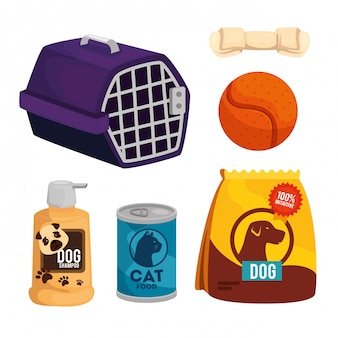 Set items pet shop  isolated