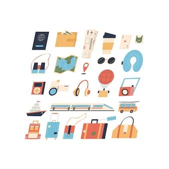 Set of items for the traveler flat style isolated vector objects on white background