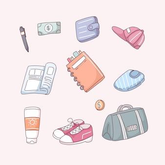Set di oggetti utilizzati per il viaggio