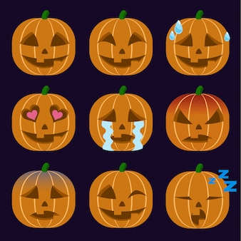 Set of jack-o-lantern  emoticon sticker isolated