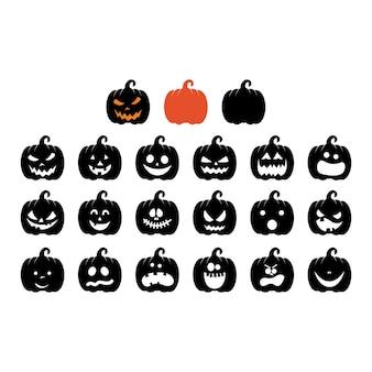 Set of jack o lanterns different face expressions on pumpkins