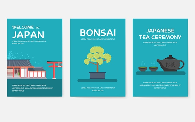 Set of japan country ornament travel tour concept.