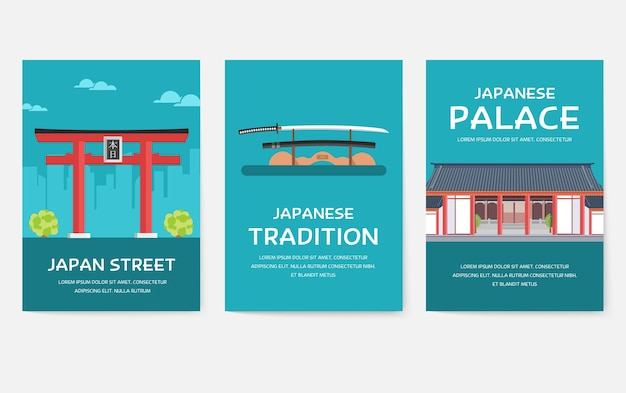 Set of japan country posters isolated on grey