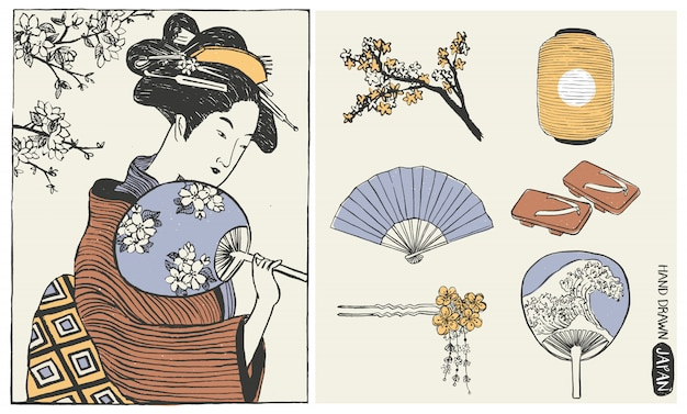 Set of japan design elements. geisha woman. japanese girl illustration.
